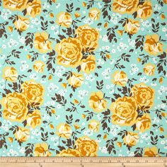 Riley Blake Primrose Garden Main Aqua from @fabricdotcom%0A%0ADesigned by Carina Gardner for Riley Blake, this cotton print is perfect for quilting, apparel and home decor accents.  Colors include shades of yellow, white, brown, and aqua.