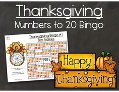 Thanksgiving Numbers to 20 Double Ten Frame Bingo by Math 4 Fun by Stacy Thanksgiving Bingo, Teen Numbers, Math Boards, Subitizing, Learning Resources, Teacher Resources, Ten Frames, Frame Crafts, Elementary Schools