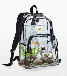 """archiemcphee: """"Last month we featured purses shaped like fancy goldfish. Today let's check out a backpack that functions as a fish tank! The Backpack Aquarium is a clear """"self-cleaning"""" backpack that contains goldfish, rocks, snails, and plants. Aquarium Design, Aquarium Original, Conception Aquarium, Objet Wtf, Fish Tank Design, Cool Fish Tanks, Fish Home, Pet Fish, Aquarium Fish"""
