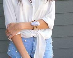 Pearl embellished shorts outfit