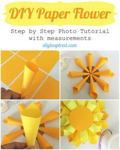 DIY Paper Flower Craft Tutorial- DIY Inspired