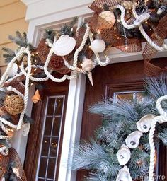 Christmas Front Doors with a Nautical and Coastal Theme love the rope an shells