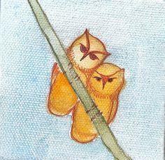 Original Watercolor Owl Portrait Painting by ElissaSueWatercolors, $18.00
