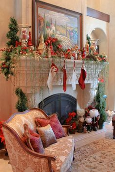 Cheerful Christmas Mantel