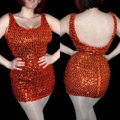 Handmade Vintage 1970's Orange Sequin Mini Dress by RedHeadVtg, $35.00