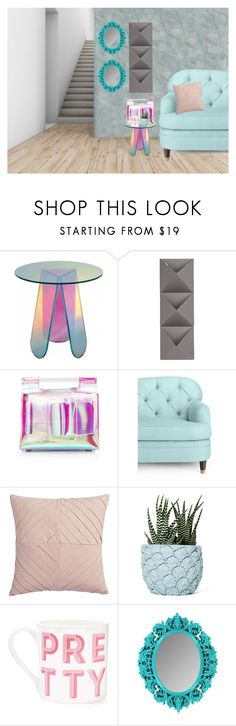 """""""Holographic Table"""" by cherieaustin ❤ liked on Polyvore featuring interior, interiors, interior design, home, home decor, interior decorating, Umbra, Boyy, Kate Spade and CB2"""