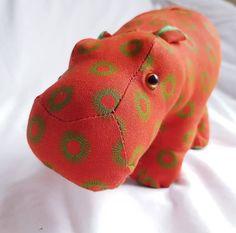 Stuffed hippo toy, plush hippo, handmade soft safari toy, african hippo, shweshwe fabric animal, hippopotamus, cute baby hippo plush toy African Elephant, African Animals, Giraffe Toy, Baby Hippo, Fabric Animals, Hippopotamus, Handmade Toys, Cute Babies, Safari