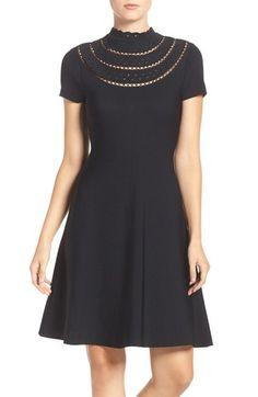 Main Image - Eliza J Cutout Fit & Flare Dress (Regular & Petite)