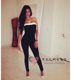 5000fкомбинезон женский 时尚性感黑白连体裤抹胸款