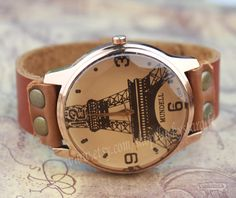 Effiel tower watch handmade brown leather watch by luckystargift, $15.99