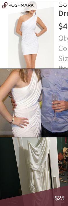 Nordstrom One Shoulder White Dress Worn once as a NYE dress. Satin white one shoulder dress purchased from Nordstrom | Soprano brand Nordstrom Dresses One Shoulder