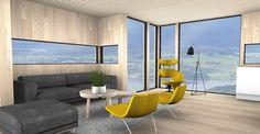 Egenes Interiørarkitekter - 3D visualisering av stue og kjøkken