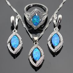 Marquise Australia Blue Opal White Stones Silver Coloe Jewelry Sets For Women Christmas Necklace Pendant Earrings Rings Gift Box