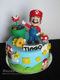 Doces Opções: Bolo de aniversário Super Mário