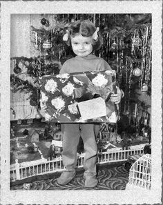 Vintage Christmas Photograph ~ Little Girl on Christmas Morning