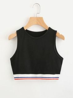 To find out about the Contrast Striped Hem Crop Tank Top at SHEIN, part of our latest Tank Tops & Camis ready to shop online today! Teen Fashion Outfits, Trendy Outfits, Girl Fashion, Cool Outfits, Fashion Ideas, Fashion Black, Punk Fashion, Lolita Fashion, Fashion Boots