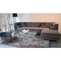 Decenni Custom Furniture 'Tobias' Grey Velvet Tufted 9.5-foot Sectional Sofa - Overstock™ Shopping - The Best Prices on Sofas & Loveseats