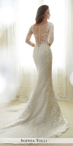 illusion lace long sleeves tatto effect wedding dresses with train sophia tolli