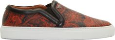 Givenchy Brown & Orange Leather Paisley Slip-On Sneakers