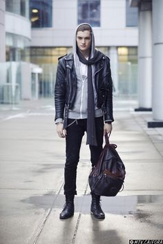 Taylor | World MasterCard Fashion Week Vintage leather jacket, Roots bag, Old Navy sweater, Aldo shoes