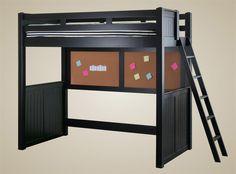 loft beds black | Sidney Black Full Size Loft Bed | College Black Loft Bed Wood Ladder