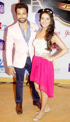 Rithvik Dhanjani and Asha Negi at Gold Awards 2015 - #GoldAwards2015. #Bollywood #Fashion #Style #Beauty