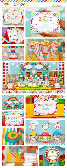 Rainbow Birthday Party Package Collection Set Mini by LeeLaaLoo