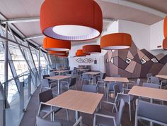 The restaurant of the Mont-Fréty station is perched on the mountain at the cableway's half-way point. Pedrali's Malmö chairs were chosen for the Dames Anglaises restaurant on the lower level #Pedrali #chair
