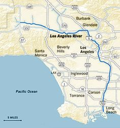 This Is One Of The Early Maps Of The Great Cartographer Jack Renie - Los angeles river map