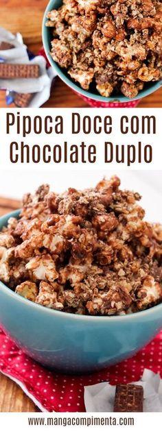 Pipoca Doce com Chocolate Duplo - Chocolate em pó com Wafer com cobertura de Chocolate