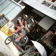 #wheelie Tyrone on the #black #theshadow #mixiebike #crisscross #bmx #fgfs #bike #bicycle #bikelife #fixie #fixedgear #nyc #chinatown #ride #hipster #hiphop #fashionweek #pinksocks #revolution