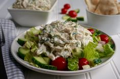 Tzatziki Chicken Salad is a creamy, healthy salad made with Greek yogurt and fresh dill. Full of freshness and flavor. #tzatziki #chickensalad #greekyogurt #anothertablespoon