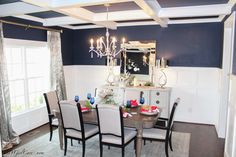 2016 Fall Community Home Tour Riverwoods dining room with coffered ceiling
