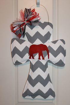 Gray and White Chevron Elephant Burlap Cross Door Hanger