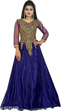 Dresses Femvy Embroidered Net Semi Stitched Anarkali Gown Fabric: Net Sleeve Length: Three-Quarter Sleeves Pattern: Embroidered Multipack: 1 Sizes: Free Size (Bust Size: 44 in Length Size: 58 in Waist Size: 41 in Hip Size: 48 in Shoulder Size: 16 in) Country of Origin: India Sizes Available: Free Size   Catalog Rating: ★4 (420)  Catalog Name: Pretty Ravishing Women Gowns CatalogID_1327538 C79-SC1025 Code: 344-8035429-9991