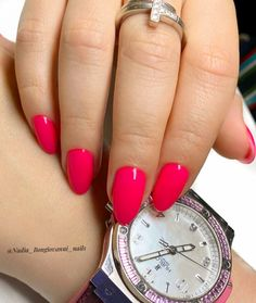 """Manicure🍀, Pedicure🍀. Bulle's Instagram profile post: """"cute simple nails  flashy pink 💅"""" Cute Simple Nails, Michael Kors Watch, Pink, Instagram, Accessories, Cute Easy Nails, Pink Hair, Roses, Watches Michael Kors"""