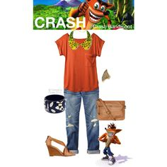"""""""Crash (Crash Bandicoot)"""" by console-to-closet on Polyvore--- Needs different shoes and no necklace."""