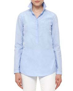 Pleated-Back+Half-Button+Blouse,+Light+Blue+by+Akris+punto+at+Neiman+Marcus.