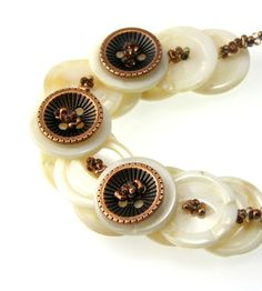 Mother of Pearl Layered Button Necklace Copper Metal Buttons
