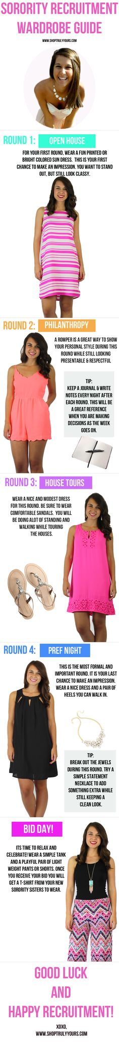 Sorority recruitment outfits and tips   What to wear during each round of sorority recruitment.