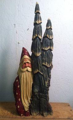HAND CARVED original tall massive Santa and trees. by santaman2000, $175.00
