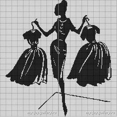 0 point de croix monochrome silhouette femme hésitant entre 2 robes - cross stitch lady hesitating betwenn 2 dresses