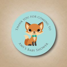 Woodland Baby Shower Fox Baby Shower Favor Sticker Woodland Animals Baby Shower Labels Boy Baby Shower Ideas Cute Fox Stickers Fox Favors by StickEmUpLabels on Etsy https://www.etsy.com/listing/221357295/woodland-baby-shower-fox-baby-shower