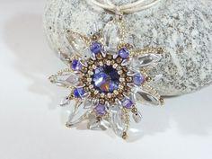 Crystal & Purple Beaded Flower Pendant  by BeauBellaJewellery #Swarovski #valentinesgift