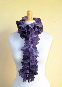 PURPLE ROSE Ruffled Scarf  cowl neckwarmer by OriginalDesignsByAR, $24.95