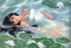 "Madoka Ayukawa swimming in pond from ""Kimagure Orange Road"" series by manga artist Akemi Takada."
