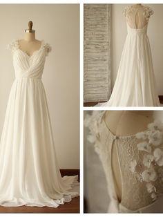 A-line Wedding Dress - Ivory Sweep/Brush Train V-neck Chiffon / Lace - USD $ 139.99