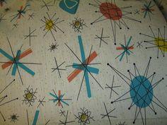 textile atomic STARBURST vtg franciscan by littlesuzyhomemaker
