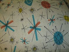 textile atomic STARBURST vtg franciscan salem north star FABRIC barkcloth mid century tempo 50s mid century print home decor fabric