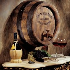 Design Toscano French Wine Barrel Wall Sculpture If you've visited a French vineyard, you'll know that white oak barrels that have outlived their Wein Parties, Wine Barrel Wall, Barrel Sink, Barrel Table, Barrel Chair, White Oak Barrels, Barris, Wine Barrel Furniture, Wine Decor